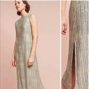 Anthro Akemi Kin Corrina Metallic Gold Midi Dress